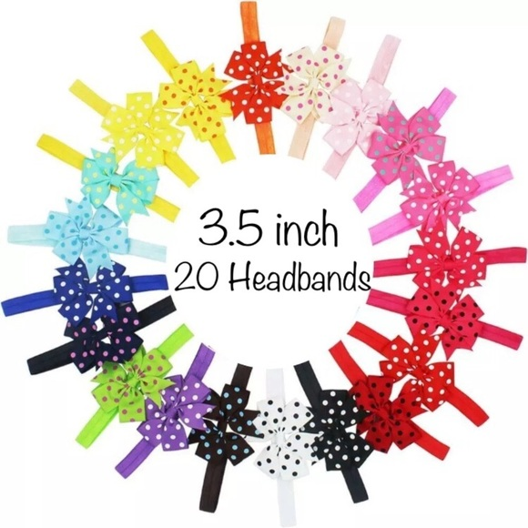 buyitwhenfound Other - 20 Elastic Bow Headbands - 3.5 inch Polka Dot Bows